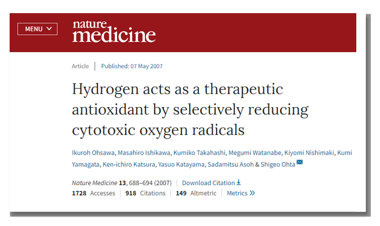 Nature medicine published article about hydrogen therapy